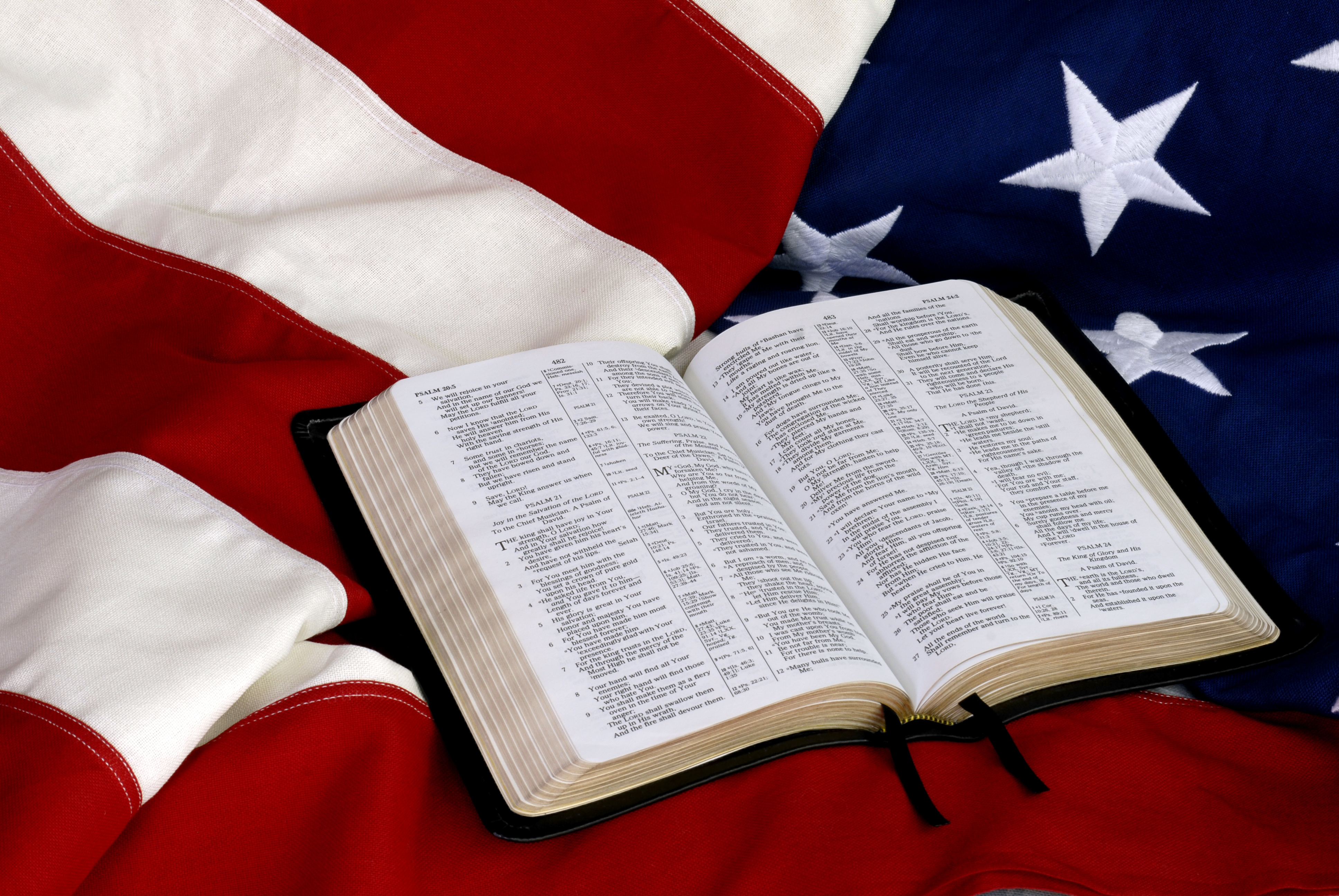 Open Bible on American Flag